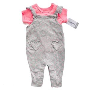 NWT Pink Heart T-Shirt and Overall Set